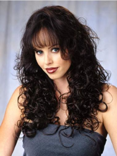 Comfortable Brown Curly Long Human Hair Wigs & Half Wigs