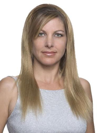 Remy Human Hair Straight Blonde Natural Long Wigs