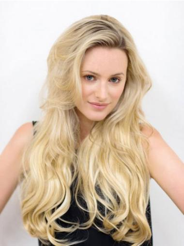 Incredible Blonde Wavy Long Human Hair Wigs & Half Wigs