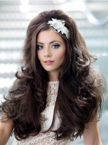 Gorgeous Brown Wavy Long Human Hair Wigs & Half Wigs