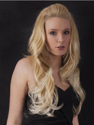 Modern Blonde Wavy Long Human Hair Wigs & Half Wigs