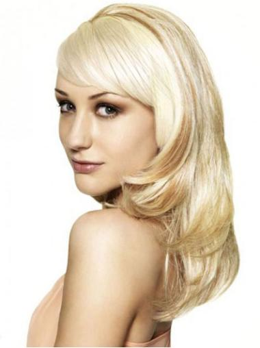 No-fuss Blonde Wavy Long Human Hair Wigs & Half Wigs