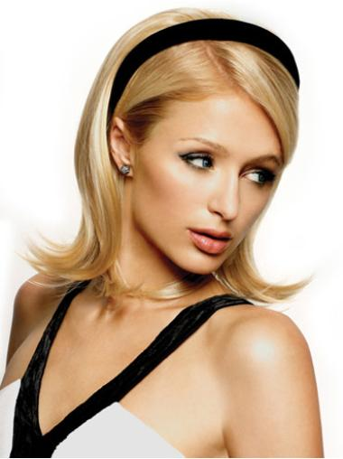 Ideal Blonde Wavy Shoulder Length Human Hair Wigs & Half Wigs