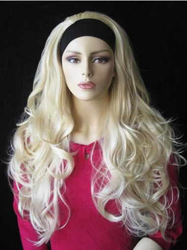 Style Blonde Wavy Long Human Hair Wigs & Half Wigs