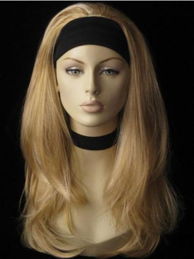 Great Blonde Straight Long Human Hair Wigs & Half Wigs