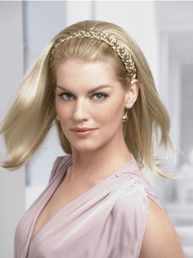 Good Blonde Straight Shoulder Length Human Hair Wigs & Half Wigs