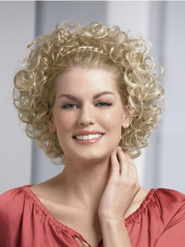 Discount Blonde Curly Chin Length Human Hair Wigs & Half Wigs