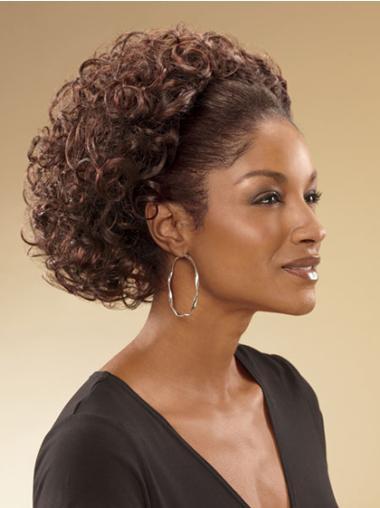 Stylish Brown Curly Chin Length Human Hair Wigs & Half Wigs