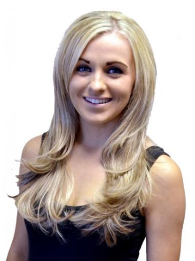 Natural Blonde Wavy Long Human Hair Wigs & Half Wigs