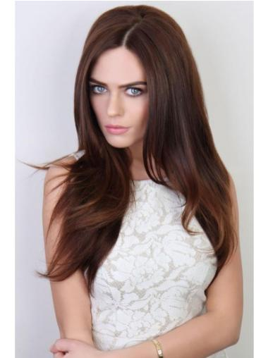 Gentle Auburn Straight Long Human Hair Wigs & Half Wigs