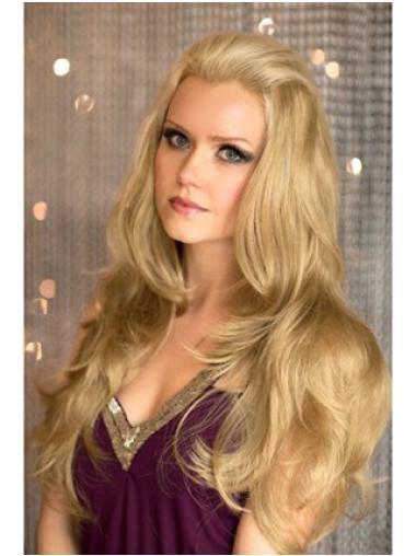 New Blonde Wavy Long Human Hair Wigs & Half Wigs
