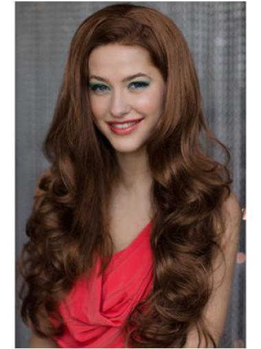 Nice Auburn Wavy Long Human Hair Wigs & Half Wigs