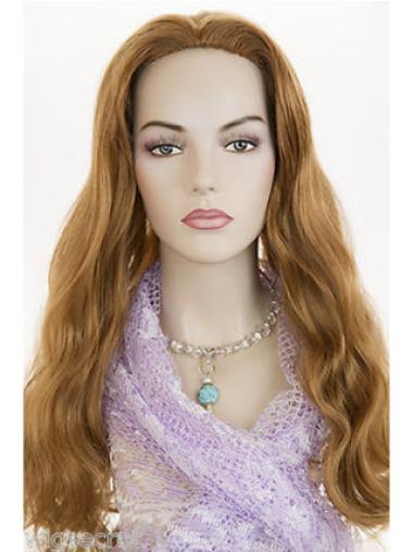 Pleasing Auburn Wavy Long Human Hair Wigs & Half Wigs