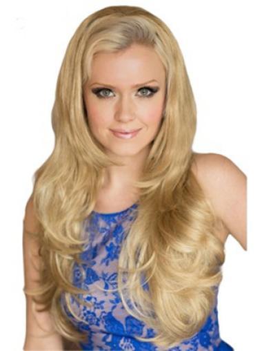 Popular Blonde Wavy Long Human Hair Wigs & Half Wigs
