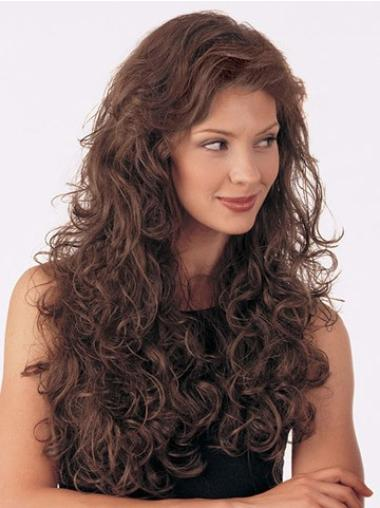Nice Brown Curly Long Human Hair Wigs & Half Wigs