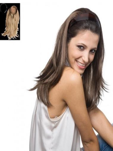 Brown Straight Long Human Hair Wigs & Half Wigs