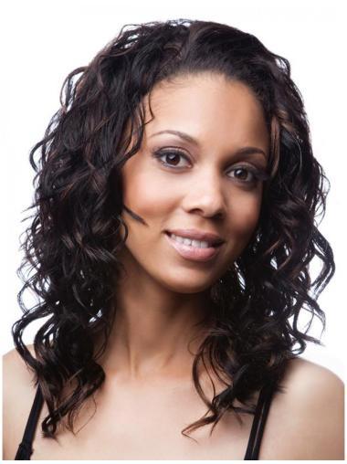 Glamorous Black Curly Shoulder Length Human Hair Wigs & Half Wigs