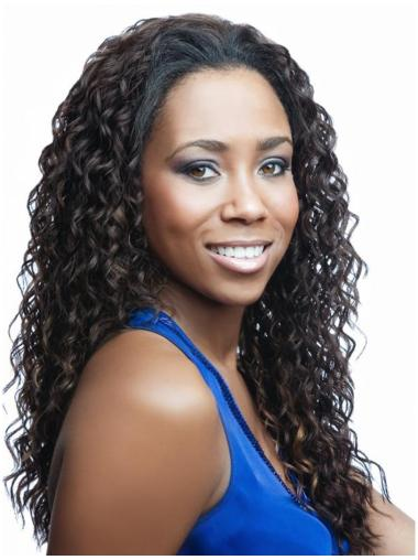 Brown Curly Synthetic Shining Long Wigs