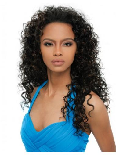 Mature Black Curly Long Human Hair Wigs & Half Wigs