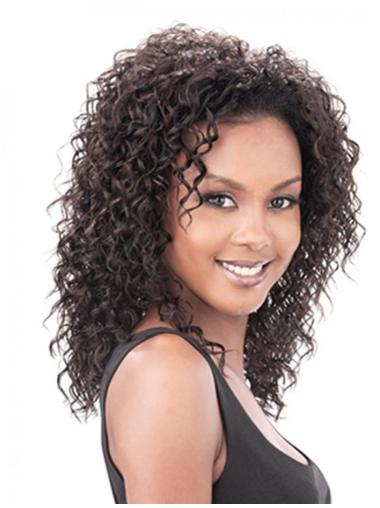 Stylish Brown Curly Shoulder Length Human Hair Wigs & Half Wigs