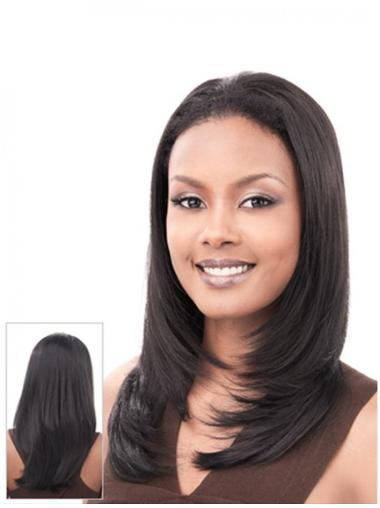 Tempting Black Straight Long Human Hair Wigs & Half Wigs