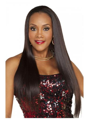 Beautiful Brown Straight Long Human Hair Wigs & Half Wigs