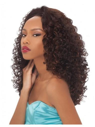 Ideal Brown Curly Long Human Hair Wigs & Half Wigs