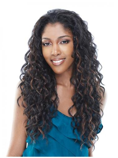 Natural Brown Curly Long Human Hair Wigs & Half Wigs