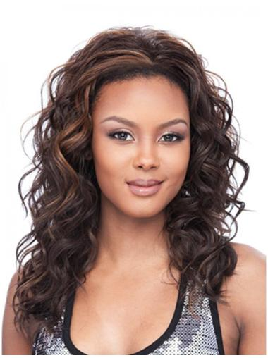 Comfortable Brown Wavy Long Human Hair Wigs & Half Wigs