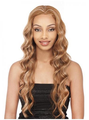Polite Blonde Wavy Long Human Hair Wigs & Half Wigs