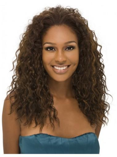 Faddish Brown Curly Long Human Hair Wigs & Half Wigs