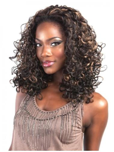 Refined Brown Curly Shoulder Length Human Hair Wigs & Half Wigs