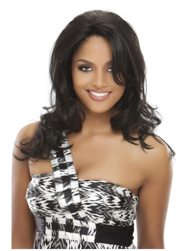 Durable Black Wavy Indian Remy Hair Long Wigs