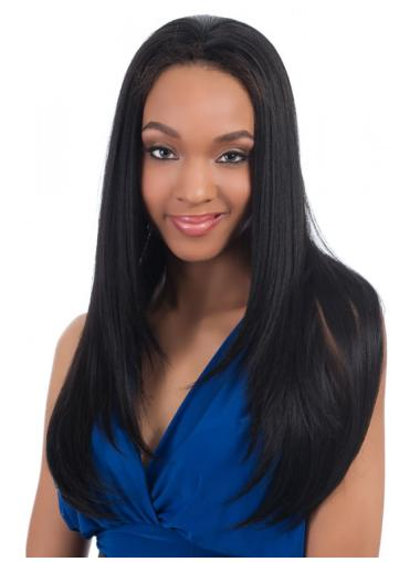 Unique Black Straight Long Human Hair Wigs & Half Wigs