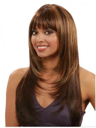 Polite Auburn Straight Long Human Hair Wigs & Half Wigs