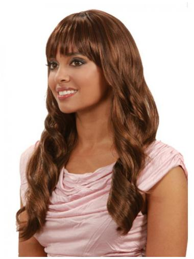 Discount Brown Wavy Long Human Hair Wigs & Half Wigs