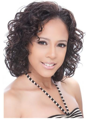 Tempting Brown Curly Chin Length Human Hair Wigs & Half Wigs