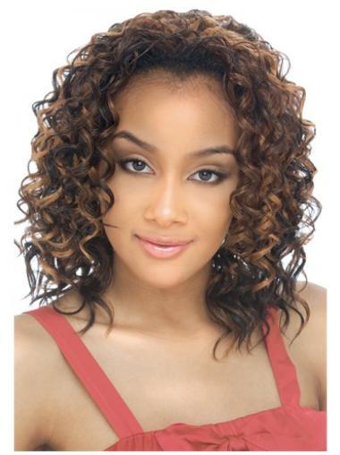 Comfortable Blonde Curly Shoulder Length Human Hair Wigs & Half Wigs