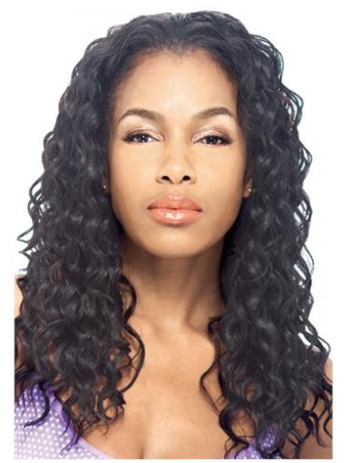 Easy Black Curly Long Human Hair Wigs & Half Wigs