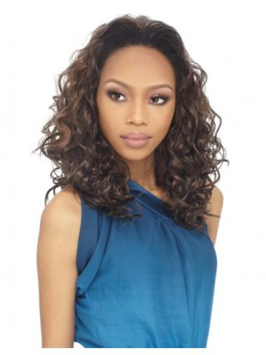 Great Brown Curly Long Human Hair Wigs & Half Wigs