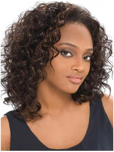 Trendy Brown Curly Shoulder Length Human Hair Wigs & Half Wigs