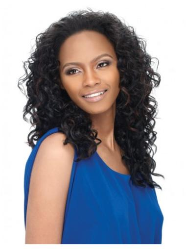 Wholesome Black Curly Long Human Hair Wigs & Half Wigs
