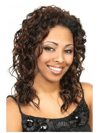Shining Brown Curly Shoulder Length Human Hair Wigs & Half Wigs