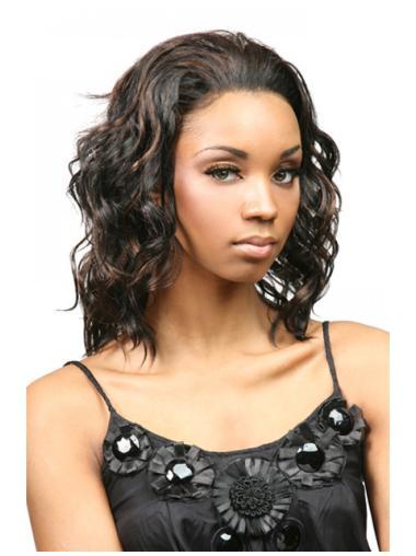 Easy Brown Curly Shoulder Length Human Hair Wigs & Half Wigs