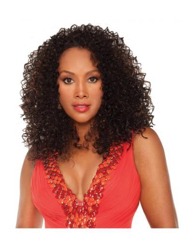 Graceful Brown Curly Shoulder Length Human Hair Wigs & Half Wigs