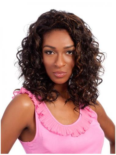 Cosy Brown Curly Shoulder Length Human Hair Wigs & Half Wigs