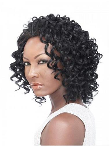 Impressive Black Curly Shoulder Length Human Hair Wigs & Half Wigs