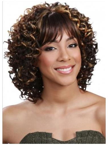 Glamorous Brown Curly Shoulder Length Human Hair Wigs & Half Wigs