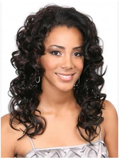Shining Brown Curly Long Human Hair Wigs & Half Wigs