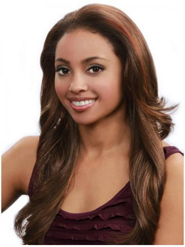 Convenient Brown Wavy Long Human Hair Wigs & Half Wigs